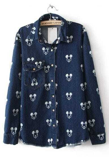 Dark Blue Long Sleeve Mickey Mouse Print Denim Blouse