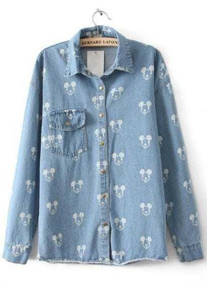 Light Blue Long Sleeve Mickey Mouse Print Denim Blouse