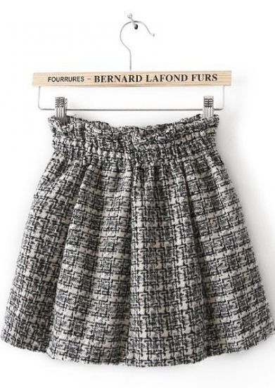Black Elastic Waist Plaid Pleated Skirt