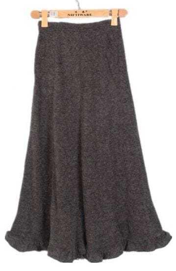 Black Ruffles Long Skirt