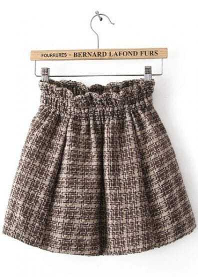Khaki Elastic Waist Plaid Pleated Skirt
