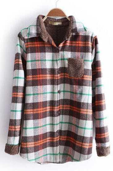 Brown Lapel Long Sleeve Plaid Pocket Blouse