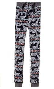 Grey High Waist Drawstring Deer Print Pant