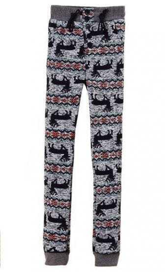 Grey High Waist Drawstring Deer Print Pant
