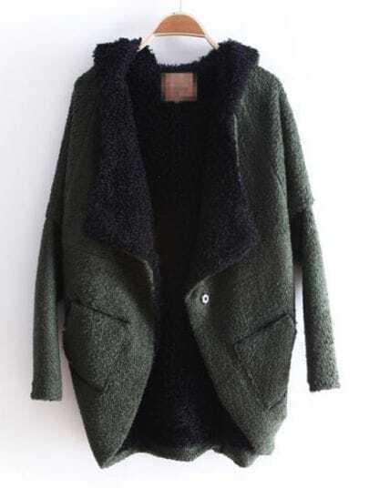 Green Hooded Batwing Long Sleeve Asymmetrical Coat
