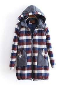 Dark Blue Hooded Long Sleeve Plaid Pockets Coat