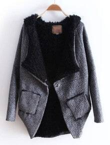Grey Hooded Batwing Long Sleeve Asymmetrical Coat
