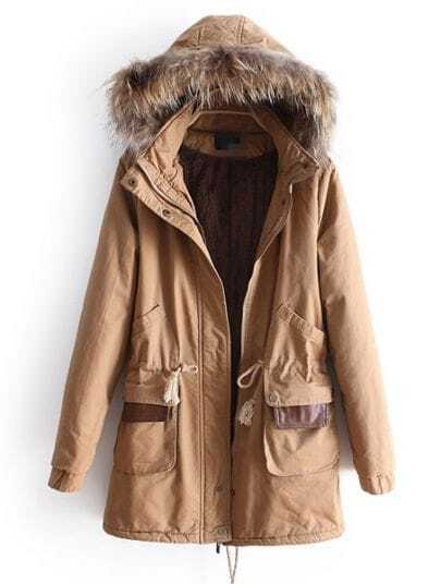 Khaki Removable Fur Hooded Long Sleeve Drawstring Coat