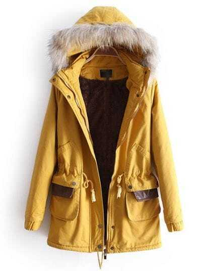 Yellow Removable Fur Hooded Long Sleeve Drawstring Coat