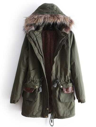 Green Removable Fur Hooded Long Sleeve Drawstring Coat