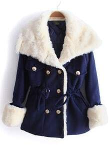 Navy Lapel Long Sleeve Drawstring Buttons Coat