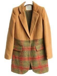 Khaki Lapel Long Sleeve Plaid Pockets Coat