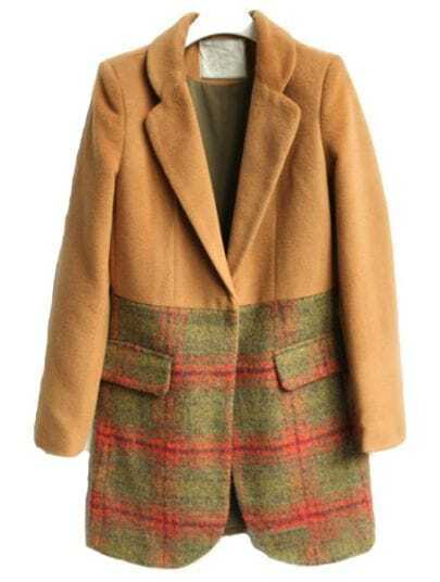 Khaki Lapel Long Sleeve Plaid Pockets Coat