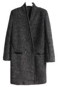 Dark Grey Long Sleeve Pockets Buttons Coat