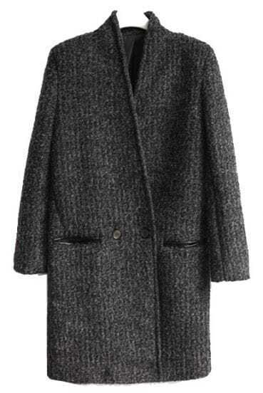 Dark Grey Long Sleeve Pockets Buttons Coat