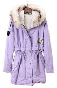 Purple Fur Hooded Long Sleeve Drawstring Loose Coat