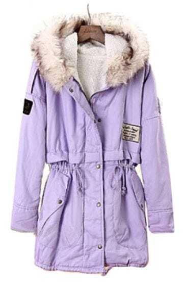 Purple Fur Hooded Long Sleeve Drawstring Loose Coat