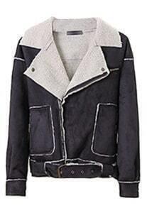 Black Lapel Batwing Long Sleeve Pockets Jacket
