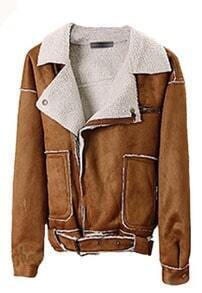 Coffee Lapel Batwing Long Sleeve Pockets Jacket
