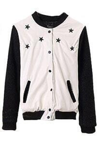White High Neck Long Sleeve Stars Embellished Crop Jacket
