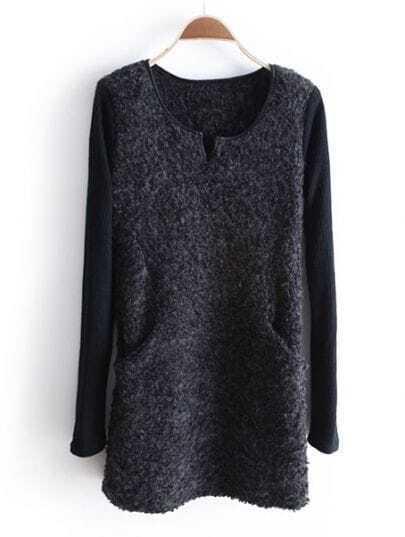 Dark Grey Long Sleeve Split Round Neck Pockets Dress