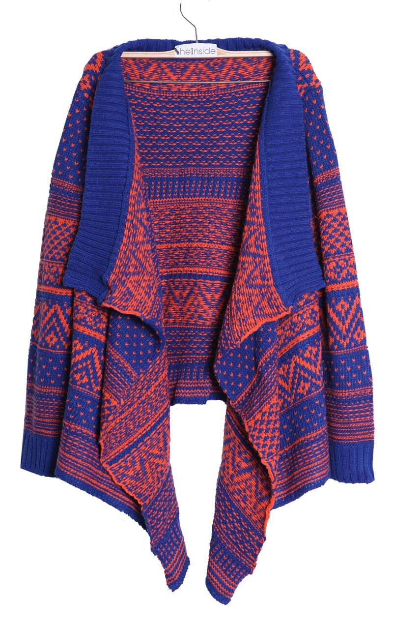 Blue and Orange Striped Tribal Asymmetric Hem Cardigan Sweater ...