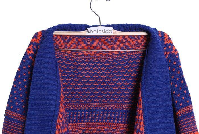 Blue and Orange Striped Tribal Asymmetric Hem Cardigan Sweater ...