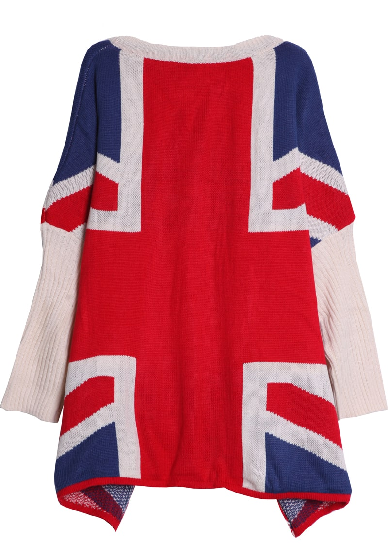 Beige and Red Batwing Sleeve UK Flag Pattern Loose Sweater -SheIn ...