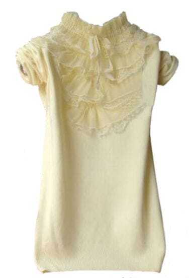 Light Yellow High Neck Lace Ruffles Pullovers Sweater