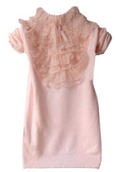 Pink High Neck Lace Ruffles Pullovers Sweater