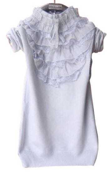 Light Grey High Neck Lace Ruffles Pullovers Sweater