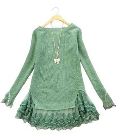 Green Long Sleeve Contrast Lace Pullovers Sweater