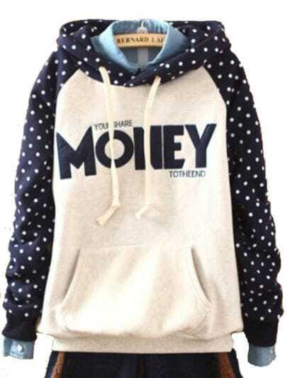 Navy Hooded Long Sleeve Polka Dot Letters Print Sweatshirt