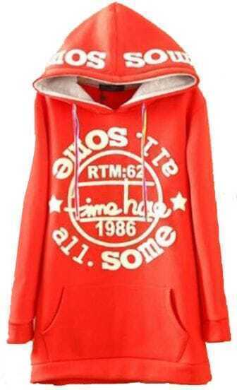 Red Hooded Long Sleeve Letters Print Pockets Sweatshirt