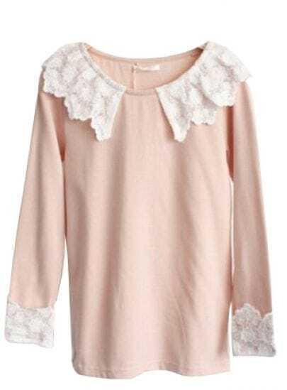 Light Pink Flower Lace Collar Long Sleeve T-shirt