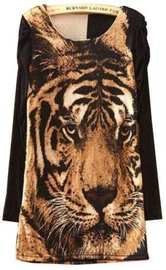 Khaki Long Sleeve Tiger Print Mesh Yoke T-Shirt