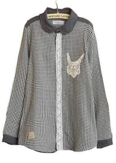 Black Plaid Lapel Lace Pocket Cotton Blends Shirt