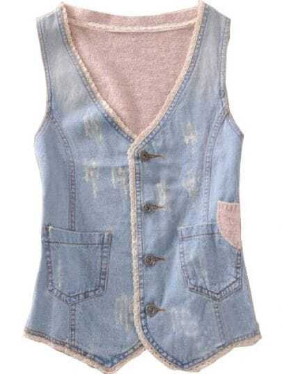Light Blue Coffee Single Breasted Pockets Bleached Denim Vest