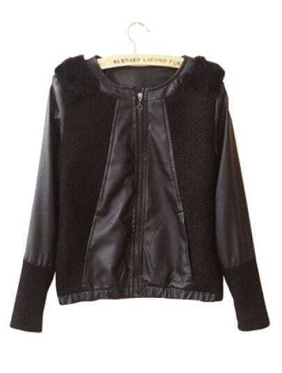 Black Long Sleeve Shoulder Fur PU Leather Coat