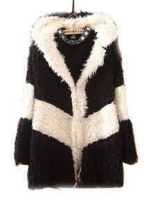 Black White Striped Hooded Long Sleeve Plush Coat
