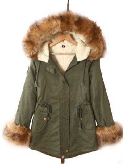 Green Fur Hooded Long Sleeve Zipper Drawstring Coat