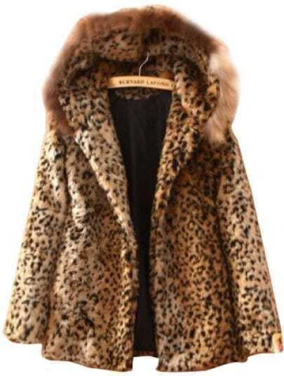 Leopard Fur Hooded Long Sleeve Pockets Coat
