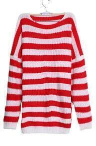 Red White Striped Long Sleeve Loose Pullovers Sweater