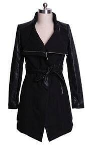 Black Contrast Leather Long Sleeve Belt Trench Coat