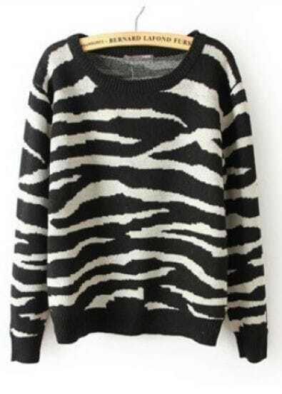 Black Long Sleeve Zebra Striped Pullovers Sweater