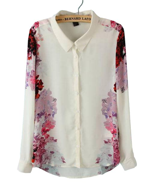 White Lapel Long Sleeve Floral Chiffon Blouse -SheIn(Sheinside)