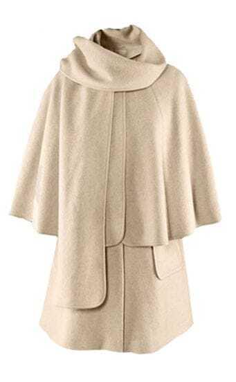 Beige High Neck Single Button Pockets Cape Coat