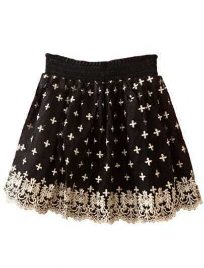 Black Cross Lace Embroidery Skirt