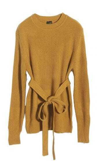 Yellow Round Neck Long Sleeve Drawstring Sweater