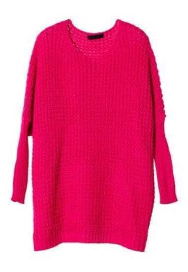 Rose Red Batwing Long Sleeve Hollow Sweater